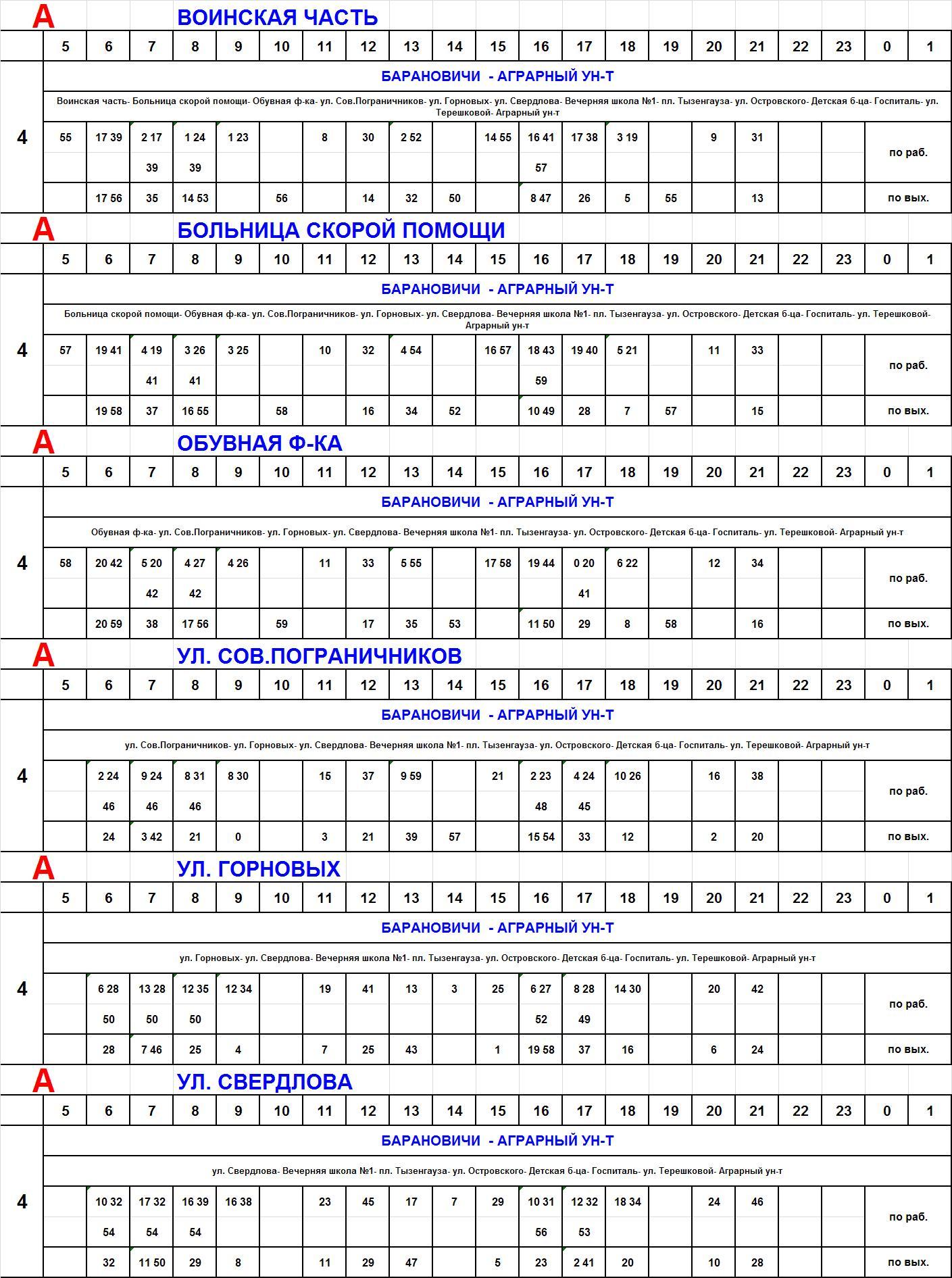 Расписание автобусов г. Барановичи на 2018 год